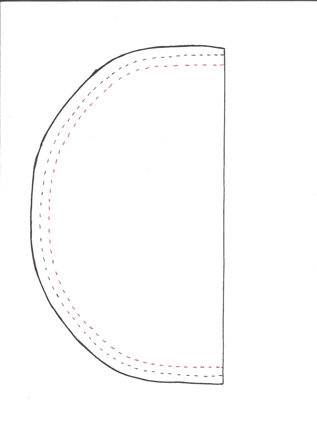 patrón para cartuchera de tela en forma de sandia
