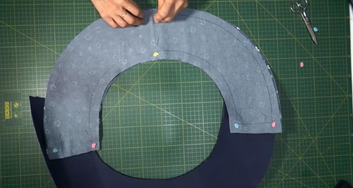 unión de las dos telas para sombrero