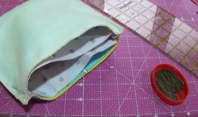unión de tela interna con la bolsa