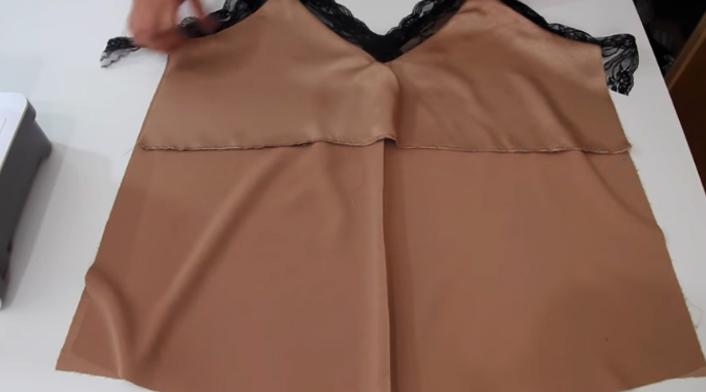 unión de tela delantera y espalda para blusa lencera de tela