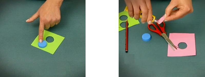 corte y pegado de tela para fichas de tateti