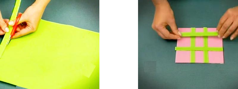 corte y pegado de tela para tiras de tablero de tateti