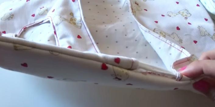 costura de hueco para bolsa de tela porta toallitas y pañales de bebé