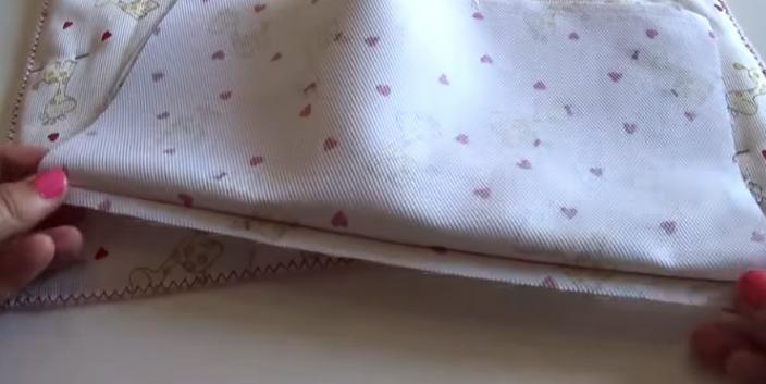 costura de telas de rectángulos para bolsa de bebé