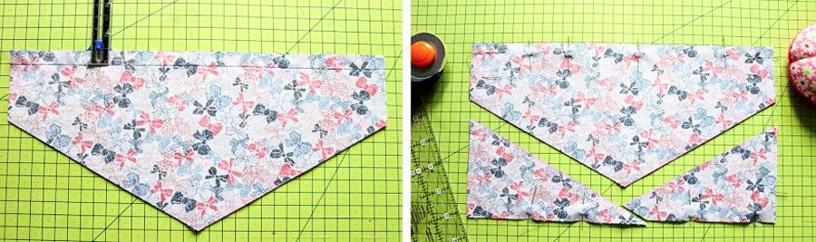 marcado y corte de patrón en telas para bandana