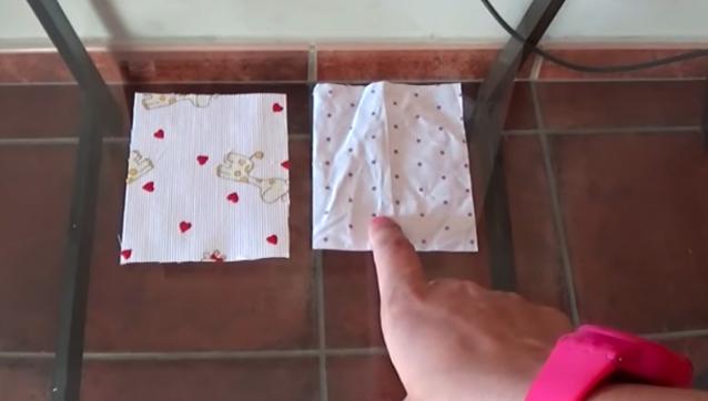 marcado y corte de piezas pequeñas para bolsa de tela
