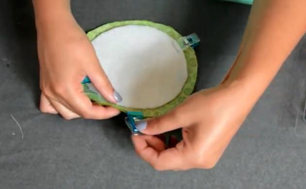 unión de telas para apoya vasos