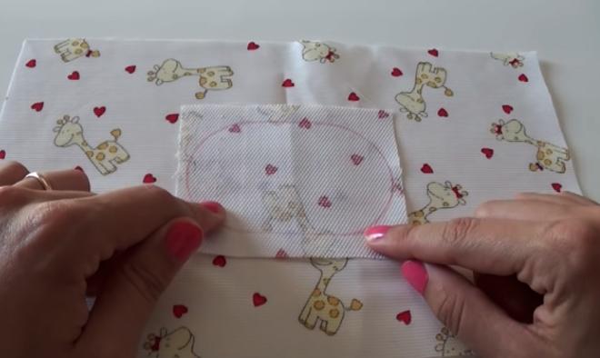 unión de telas para el compartimiento de toallitas para bolsa