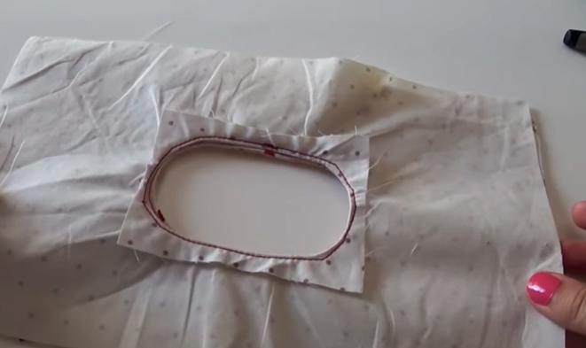 unión de telas con aberturas para bolsa