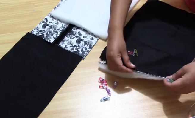 unión de huata a tela interna y externa para lonchera de tela