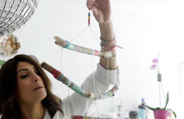 unión de piezas para movil de animalitos de tela