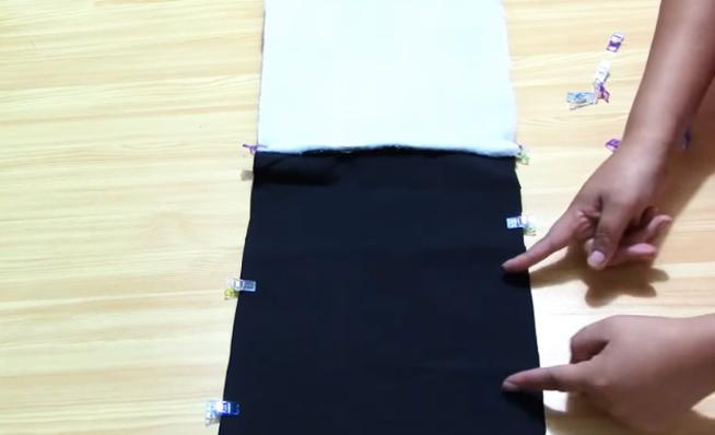 unión de piezas para lonchera de tela