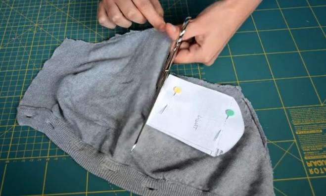 corte de patrón de parte del talón para medias de tela