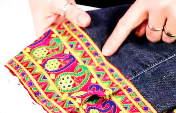 costura de dobladillo superior para parte superior de tela para ronovación de jean