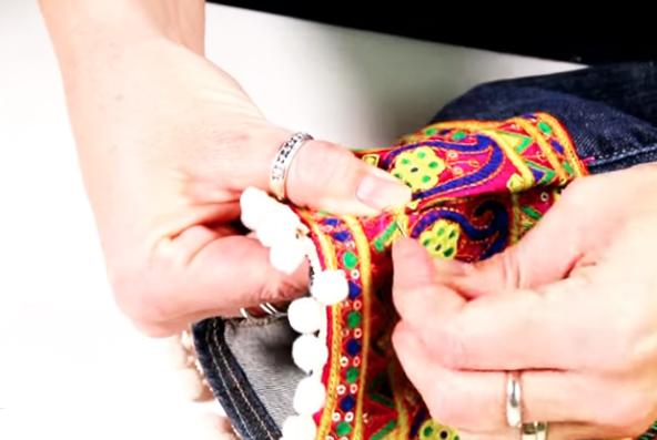 costura de unión final de tela para renovación de jean