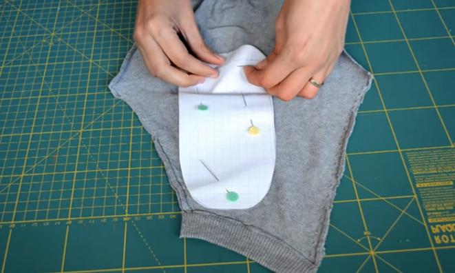 marcado de patrón de parte trasera para medias de tela