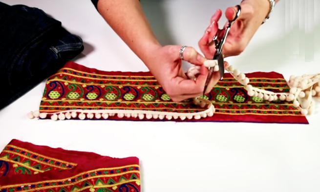 medida y corte de bies para renovación de jean con tela