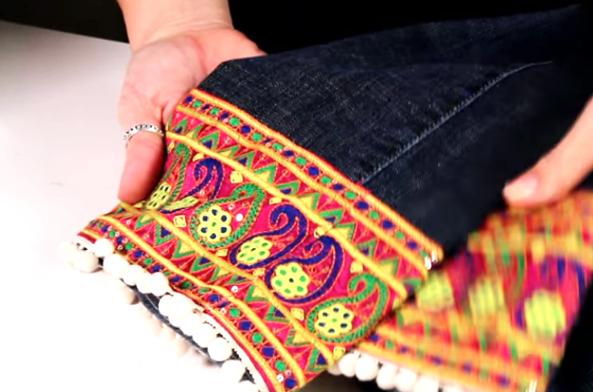 renovación de jean con tela terminado