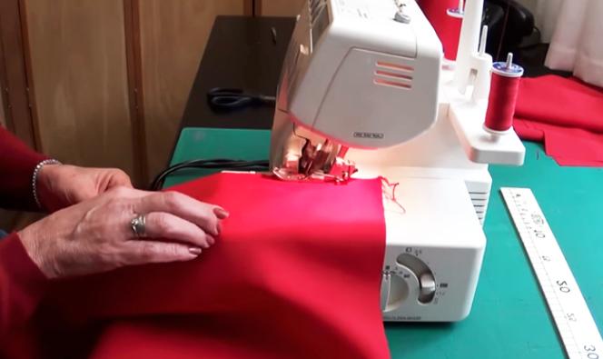 costura de dobladillo para servilleta de tela