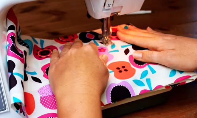 costura de marcas de tela para bolsa con arroz