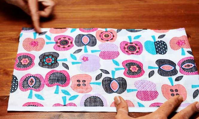 marcado de tela para primera costura de bolsa