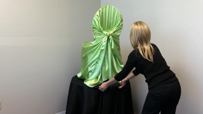 escondimiento de nudo de tela para funda de silla