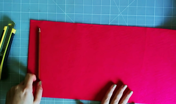 marcado y corte de tela para porta lapices