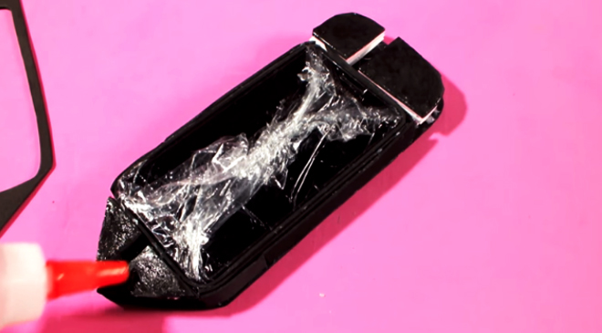 relleno de funda de tela para celular con goma eva