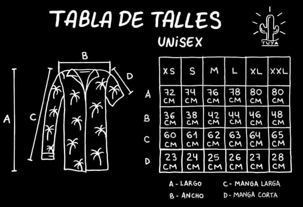 Tabla de Talles - Tuya - Tienda de Camisas Online