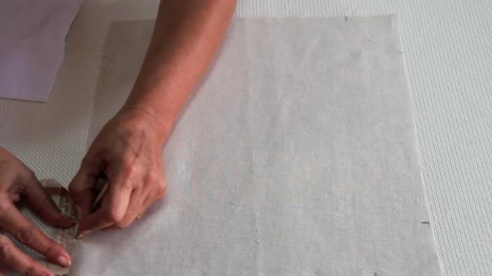 marcado de esquinas en tela exterior para panera