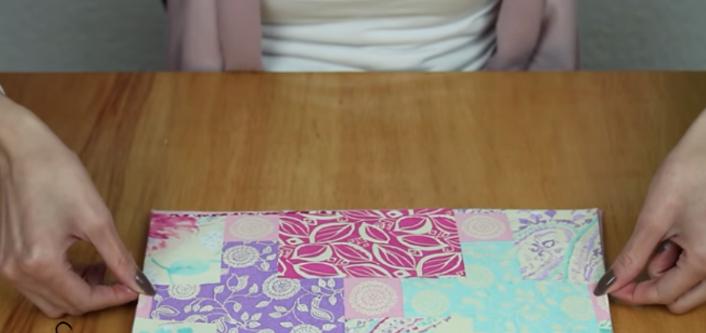 pegado de pieza externa para cartera de tela
