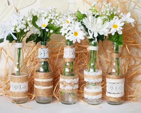 frasco de vidrio con tela decorativa extratip