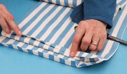 marcado y costura de dobladillo para porta comandos de tela