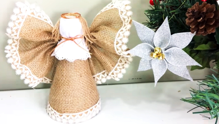 angelito de tela para navidad terminado