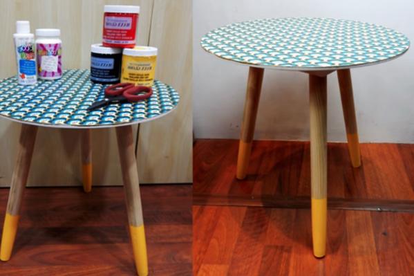 mesa reciclada con tela terminada
