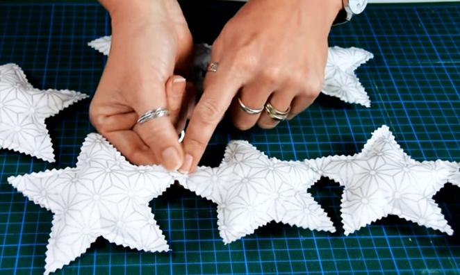 unión de estrellas para guirnalda de tela