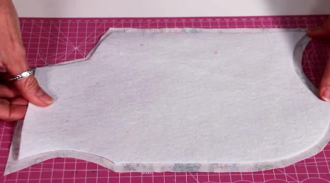 unión de telas con fieltro para porta tijera