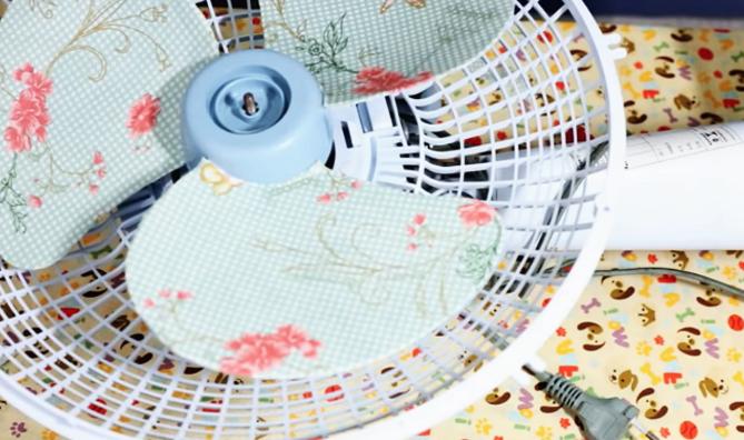armado de ventilador para decoración con tela