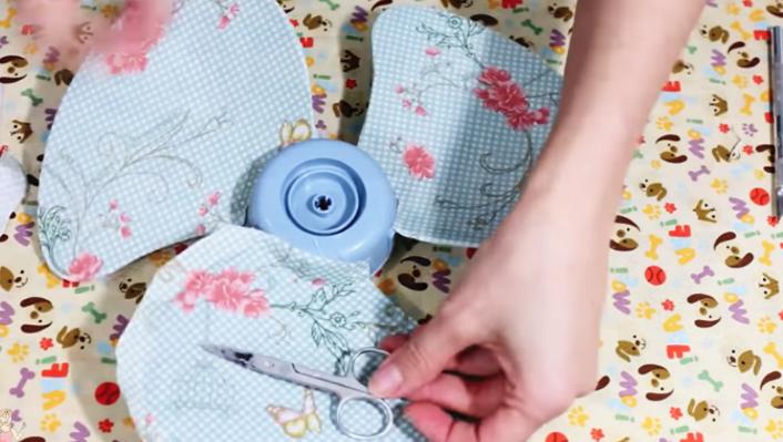 corte de tela sobrante para decoración de ventilador