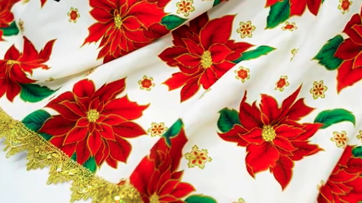 mantel navideño de tela terminado