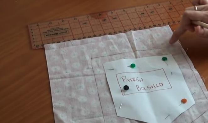 marcado de patrón de bolsillo para costumización de remera con tela