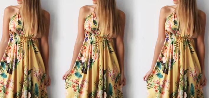 maxi vestido de tela terminado