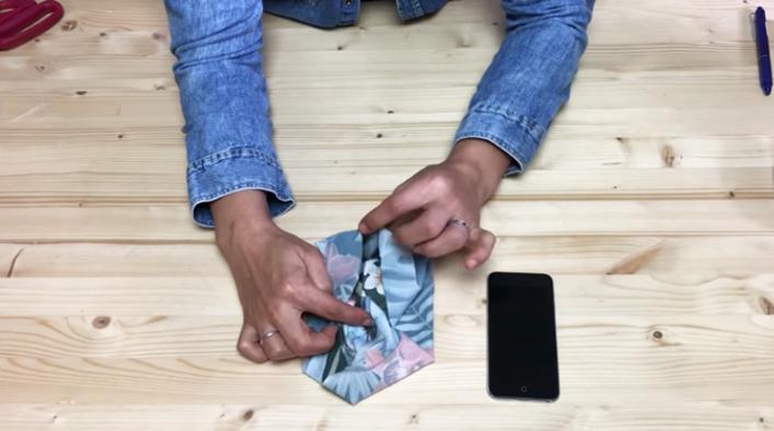 centralización de laterales de tela para porta celular para brazo