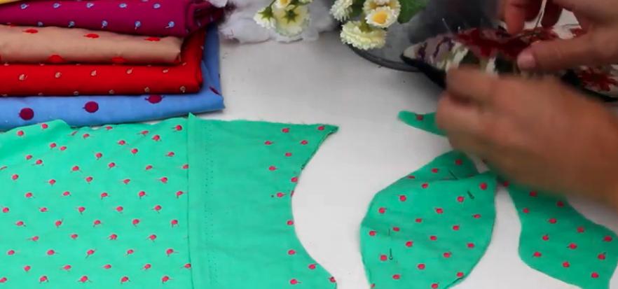 unión de piezas de tela para guirnalda de peces