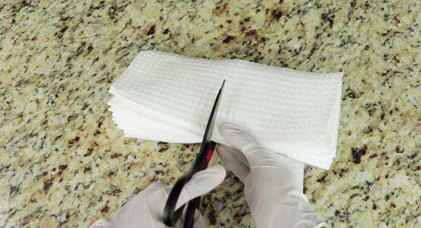 corte de tela para toallitas higiénicas