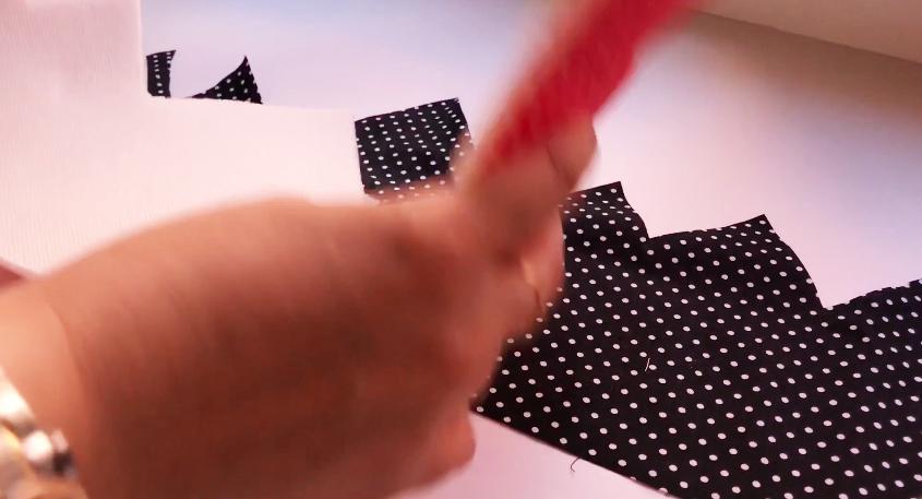 unión de pieza de tela con entretela y tela para corona