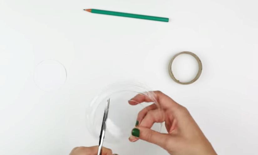 dibujo de circulos de plástico para caleidoscopio decorado en tela