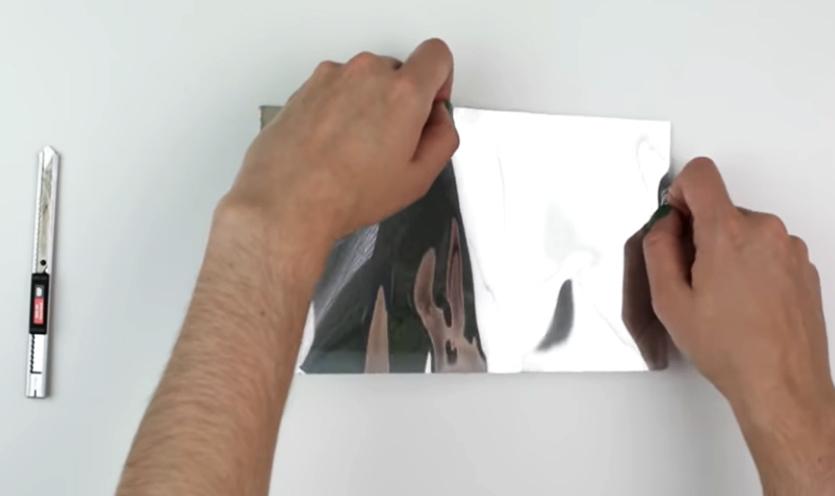 pegado de papel aluminio para caleidoscopio decorado en tela