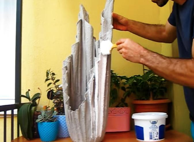 pintado de maceta de cemento y tela