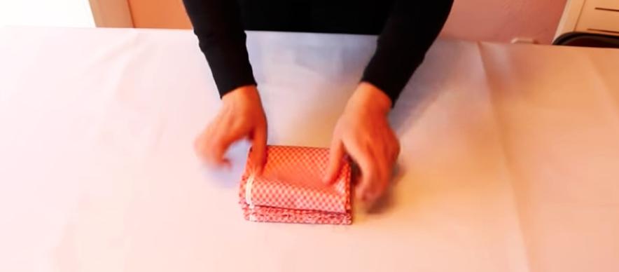 último dobles de tela de algodón con método Marie Kondo